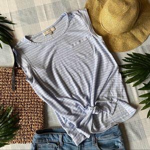 LOFT S light blue pocket linen blend cap sleeve T